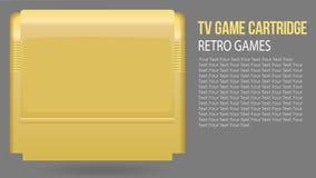 Illustration de vecteur de rétro cartouche réaliste d'isolement de jeu de TV dans le boîtier en plastique jaune Jeu de vieille ?c illustration stock