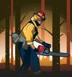 Illustration de vecteur de sapeur-pompier du feu de forêt illustration de vecteur