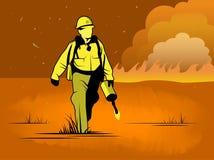 Illustration de vecteur de sapeur-pompier de terres non cultivées illustration de vecteur