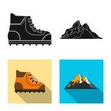 Illustration de vecteur de signe d'alpinisme et de crête Collection d'icône de vecteur d'alpinisme et de camp pour des actions illustration de vecteur