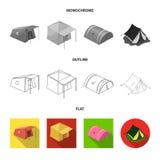Illustration de vecteur de signe de tente et de camp Collection de symbole boursier de tente et de for?t pour le Web illustration de vecteur