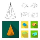 Illustration de vecteur de signe de tente et de camp Collection de symbole boursier de tente et de for?t pour le Web illustration stock