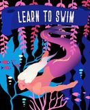Illustration de vecteur de sirène Paysage marin sous-marin de conte de fées avec le caractère d'imagination de mythologie Rétro a illustration de vecteur