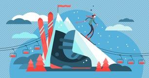 Illustration de vecteur de ski Mini concept plat de personne de sport avec l'équipement illustration stock