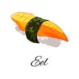 Illustration de vecteur Sushi d'anguille avec le nori D'isolement sur le fond blanc illustration libre de droits