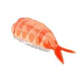 Illustration de vecteur Sushi d'Ebi avec la crevette D'isolement sur le fond blanc Images stock