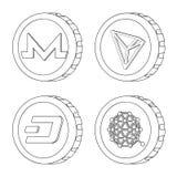 Illustration de vecteur de symbole de cryptocurrency et de pi?ce de monnaie Ensemble de cryptocurrency et crypto ic?ne de vecteur illustration stock