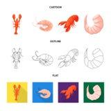 Illustration de vecteur de symbole d'apéritif et d'océan Collection d'icône de vecteur d'apéritif et de délicatesse pour des acti illustration de vecteur