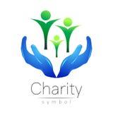 Illustration de vecteur Symbole de la charité Main de signe d'isolement sur le fond blanc Société bleue d'icône, Web, carte, copi illustration de vecteur