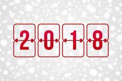 Illustration de vecteur de tableau indicateur de 2018 bonnes années Modèle de neige de vacances d'hiver pour la célébration Fond  Photos libres de droits
