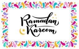 Illustration de vecteur Texte de salutation islamique de lettrage d'or de Ramadan Kareem, lune, cadre carr? de colorfull de f?te  illustration libre de droits