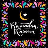 Illustration de vecteur Texte de salutation islamique de lettrage d'or de Ramadan Kareem, lune, cadre carr? de colorfull de f?te  photographie stock