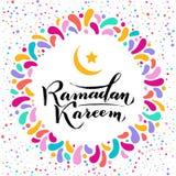 Illustration de vecteur Texte de salutation islamique de lettrage d'or de Ramadan Kareem, lune, cadre rond de colorfull de f?te c image libre de droits