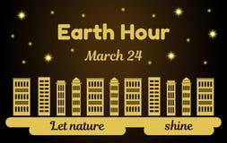 Illustration de vecteur de thème d'heure de la terre Gratte-ciel avec les lumières et le fond de nuit avec les étoiles brillantes Photos libres de droits