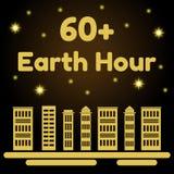 Illustration de vecteur de thème d'heure de la terre Gratte-ciel avec les lumières et le fond de nuit avec les étoiles brillantes Images libres de droits