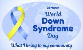 Illustration de vecteur de thème de jour de trisomie 21 du monde bande Bleu-jaune et ressemblance d'une inscription Le fond est a Image stock