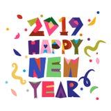 Illustration de vecteur de typographie de la nouvelle année 2019 dans le rétro style illustration libre de droits