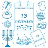 Illustration de vecteur : Vacances juives Hanoucca : calendrier, cadeaux, d illustration stock