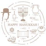 Illustration de vecteur : Vacances juives Hanoucca : dreidel, sivivon,