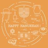 Illustration de vecteur : Vacances juives Hanoucca : dreidel, sivivon, menorah, étoile de David, pièces de monnaie, butées toriqu illustration de vecteur