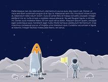 Illustration de vecteur de vaisseau spatial et d'astronaute Photographie stock