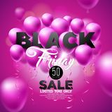Illustration de vecteur de vente de Black Friday avec les ballons brillants sur Violet Background Illustration Stock