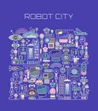 Illustration de vecteur de ville de robot illustration libre de droits