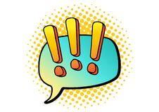 Illustration de vecteur de vintage Nuage de secousse des textes Bandes dessinées colorées Concevez l'élément pour la conception d Photographie stock libre de droits
