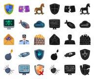 Illustration de vecteur de virus et de logo sûr Collection de virus et de symbole boursier de cyber pour le Web illustration stock