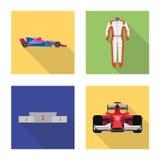 Illustration de vecteur de voiture et d'icône de rassemblement Ensemble de symbole boursier de voiture et de course pour le Web illustration de vecteur