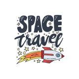 Illustration de vecteur de voyage dans l'espace Affiche de découverte et d'exploration de cosmos Style de griffonnage, conception illustration libre de droits