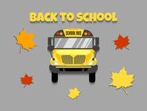 Illustration de vecteur de vue de face d'autobus scolaire De nouveau ? l'?cole illustration stock