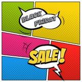 Illustration de vente de Black Friday dans le style de bande dessinée La parole bouillonne avec le texte de vente de Black Friday Photo stock