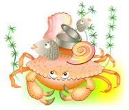 Illustration de vieux crabe gardant sa substance Photos libres de droits