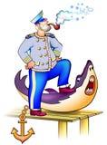 Illustration de vieux marin avec un requin qu'il a massacré Image stock