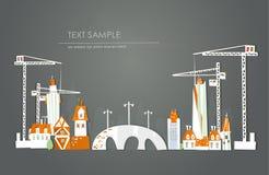Illustration de ville d'élevage, fond avec des grues et bâtiments Image stock