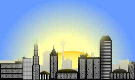 Illustration de ville de lever de soleil Photo stock