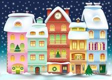 Illustration de ville de Noël Horizontal de l'hiver Photographie stock
