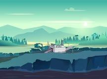 Illustration de vintage d'extraction de l'or Nature sauvage au coucher du soleil Illustration de vecteur pour votre application illustration libre de droits