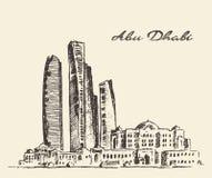 Illustration de vintage d'horizon d'Abu Dhabi tirée par la main Images libres de droits