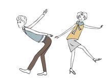 Illustration de vintage de couples de danse Photographie stock