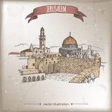 Illustration de voyage avec le mur pleurant, dôme de la roche, Jérusalem illustration libre de droits