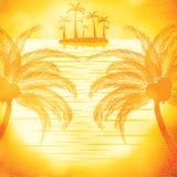 Illustration de vue de coucher du soleil en plage avec le palmier Photos stock