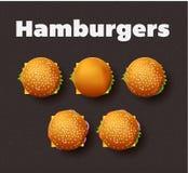 Illustration de vue supérieure des hamburgers Positionnement réaliste de vecteur Images libres de droits