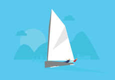 Illustration de yacht concurrençant dans l'événement de navigation Photographie stock
