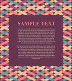 Illustration de zone de texte de conception de calibre avec le fond coloré de cadre de modèle pour le tract, l'affiche, le menu e Photos stock