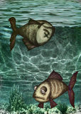 Illustration of dead fish and polluted water Stock Images