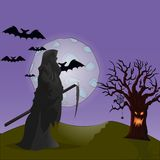Background for Halloween, death with a scythe stock illustration