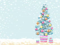 Illustration of decorated Christmas tree in a flowerpot with gifts Royalty Free Stock Images