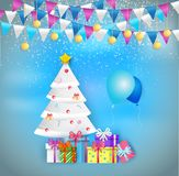 Illustration of decorated christmas tree with gift boxes and bal stock illustration